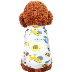 Pet Autumn and Winter Cartoon Doodle Round Neck Shirt Dog Clothes -