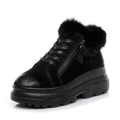 Zipper Boots women Leather student velvet Short Plus winter snow Boots