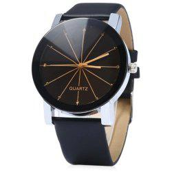 GENEVA Men Fashion Simple Ray Belt Quartz Wrist Watch -