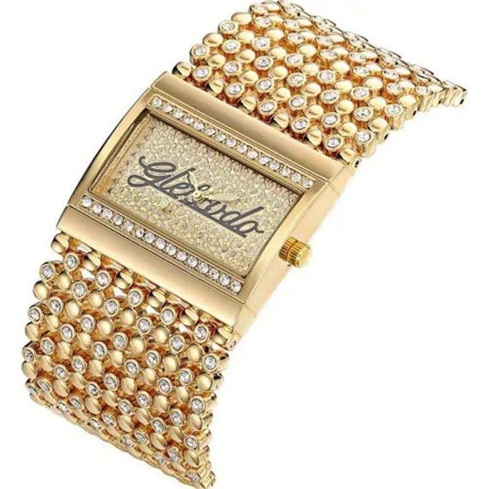 Shop Fashion Square Dial with Diamond Band Quartz Watch