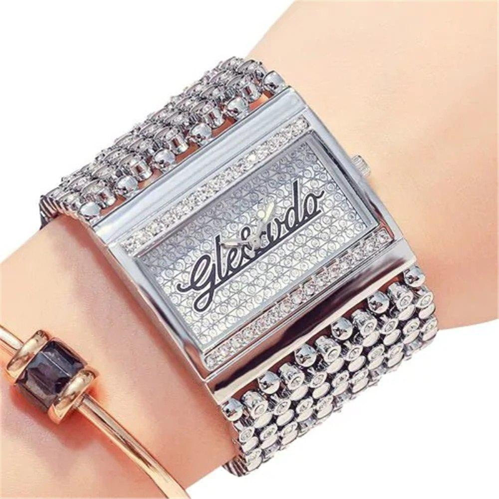 Latest Fashion Square Dial with Diamond Band Quartz Watch