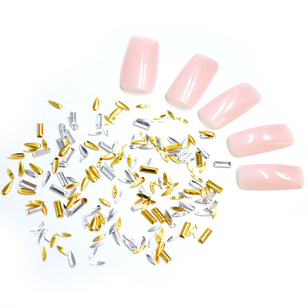 Outfits 1 Pack Gold Silver Metal Flake Mix Shapes Horse eye Long Water drop Nail Decors