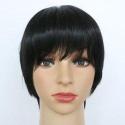 Short Straight Hair Oblique Bangs Black Synthetic Wig -