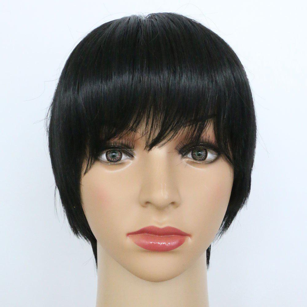 Cheap Short Straight Hair Oblique Bangs Black Synthetic Wig