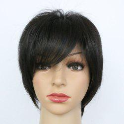 Men and Women Short Straight Hair Oblique Bangs Black Synthetic Wig -