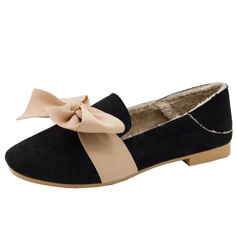 Shops Furry Single Shoe Woman New Bow In Autumn And Winter Of 2018