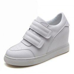 leather women's shoes 8cm inside thickening  sneakers women's shoes wild white -