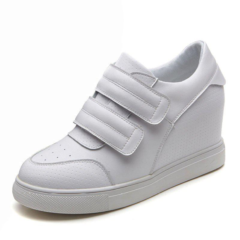 Discount leather women's shoes 8cm inside thickening  sneakers women's shoes wild white