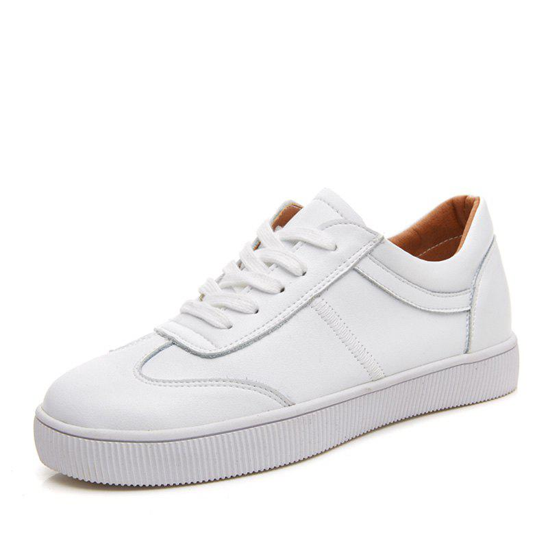 Unique White Flat Sneakers Casual Shoes Women Trainers Lace Up Ladies Student Shoes