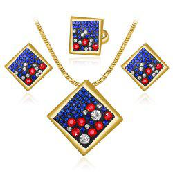 High-Grade Atmospheric Personality Geometry Set with Diamond Jewelry Set -