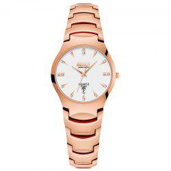 New Fashionable Business Diamond-Inlaid Couple Steel Band Quartz Wrist Watch -