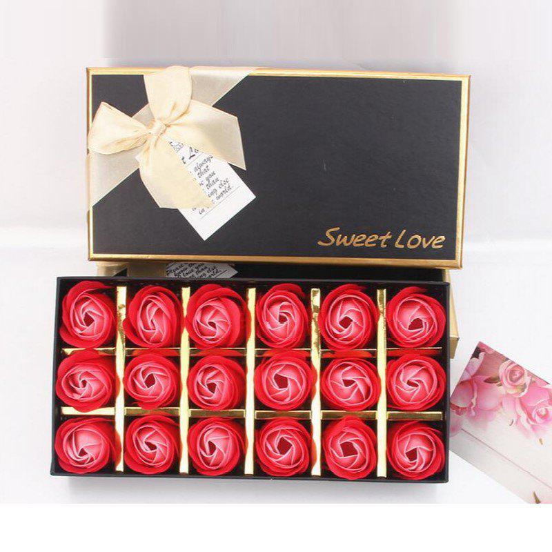 Discount 18Pcs/Box Scented Soap Rose Flower Gift for Anniversary/Birthday/Wedding