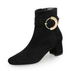 Square Head Ring  with Thick Women'S Bare Boots -