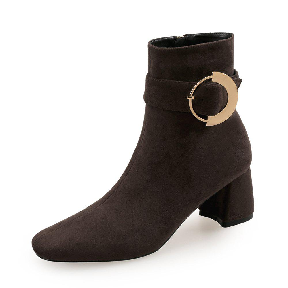 Unique Square Head Ring  with Thick Women'S Bare Boots