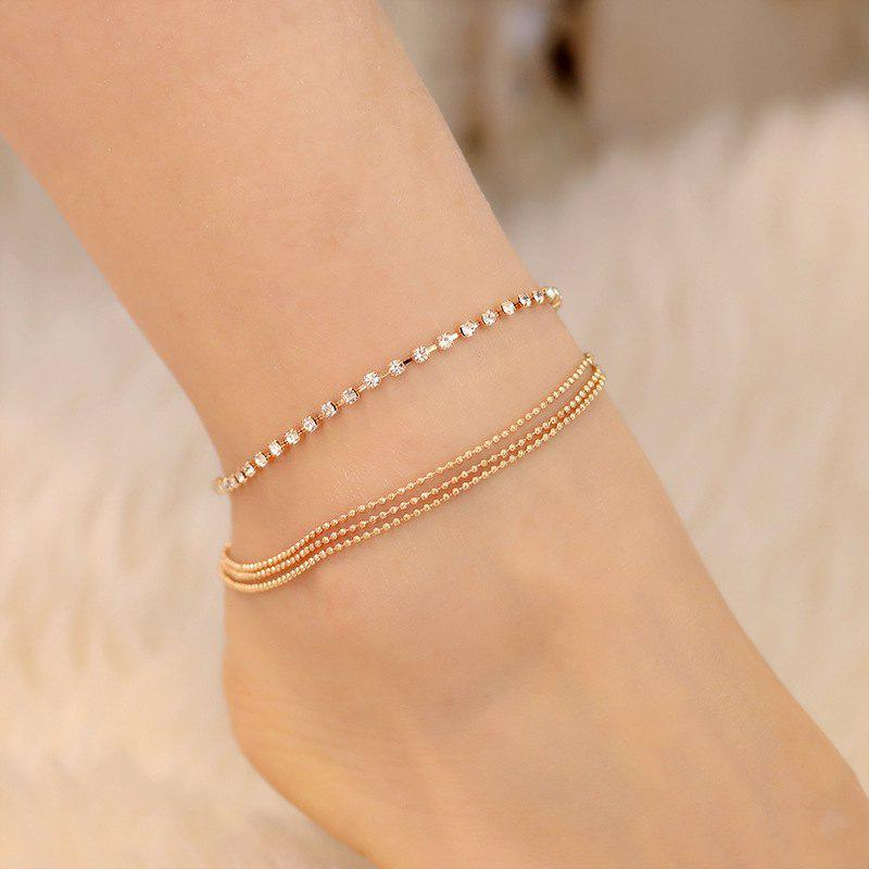 Affordable Fashion Gold Multi-Layer Diamond Anklet
