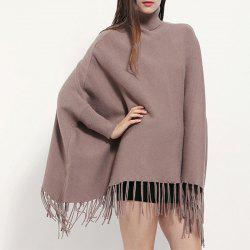 High Collar Pullover Lady Tassel Cloak Monochrome Cashmere Shawl Bat Sleeve Coat -