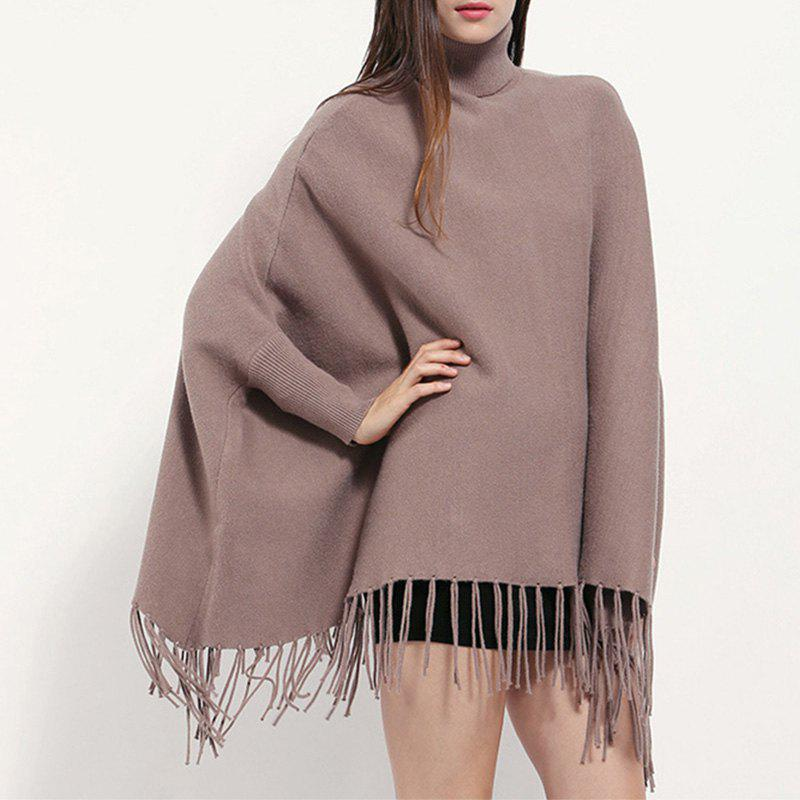 Latest High Collar Pullover Lady Tassel Cloak Monochrome Cashmere Shawl Bat Sleeve Coat