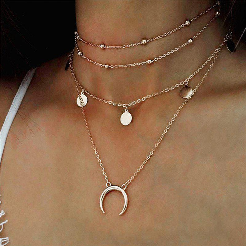 New Elegant Temperament Lady Wafer Moon Multi-Layer Necklace