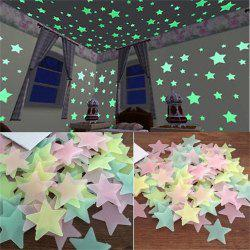 100PCS Night Star Wall Sticks to Children's Rooms and Living Room Decorations -
