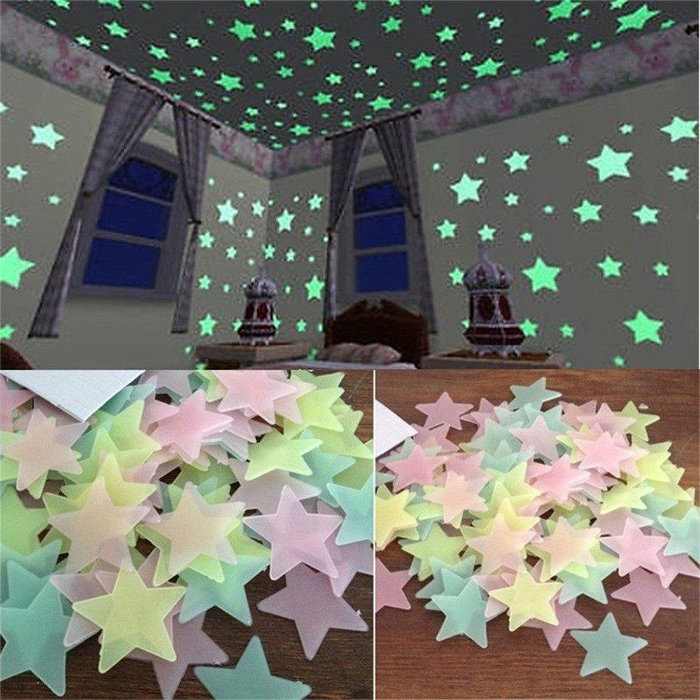 Buy 100PCS Night Star Wall Sticks to Children's Rooms and Living Room Decorations
