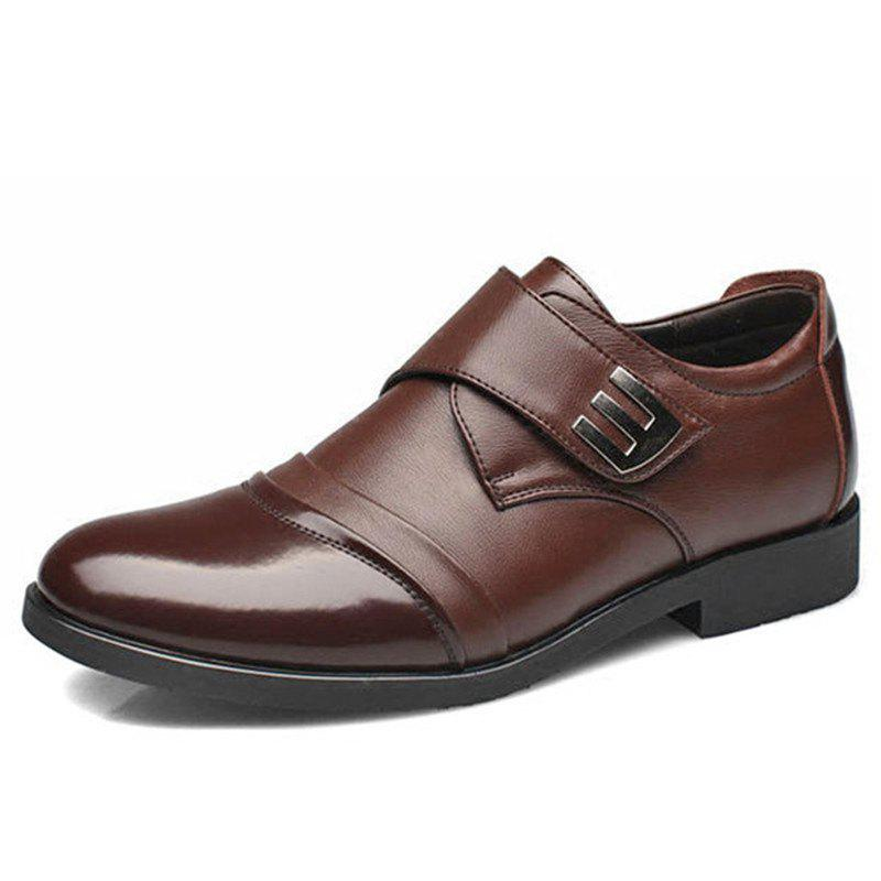 Chic New Men Classic Color Blocking Hook-Loop Business Casual Leather Shoes