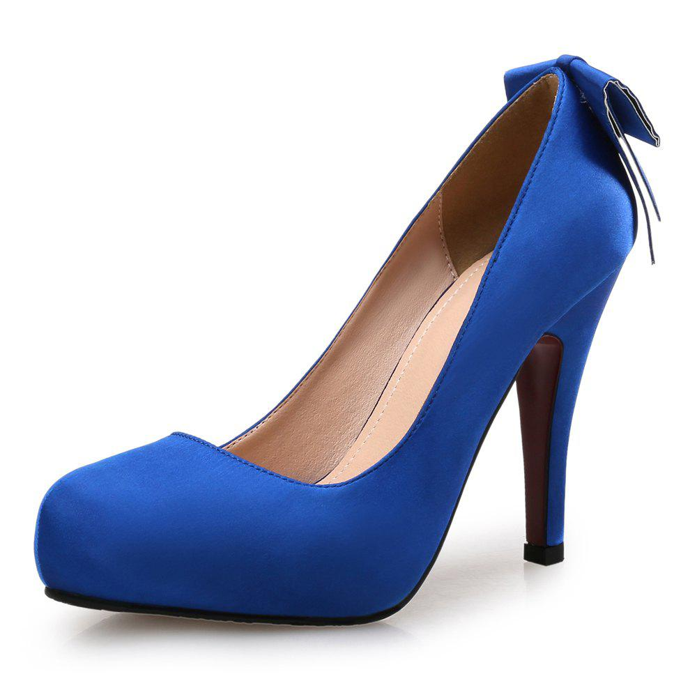 8672b957f918 Cheap Blue Bow Dress Single Shoes Round Head High Heel Shallow Mouth Shoes
