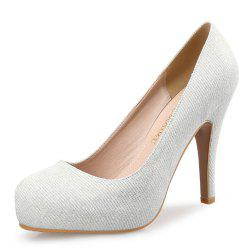 Round Head High Heels Shallow Mouth Sequins Banquet Wedding Shoes -