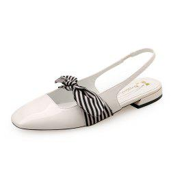 Square Head Vintage Patent Leather Bow Flats with Flats -