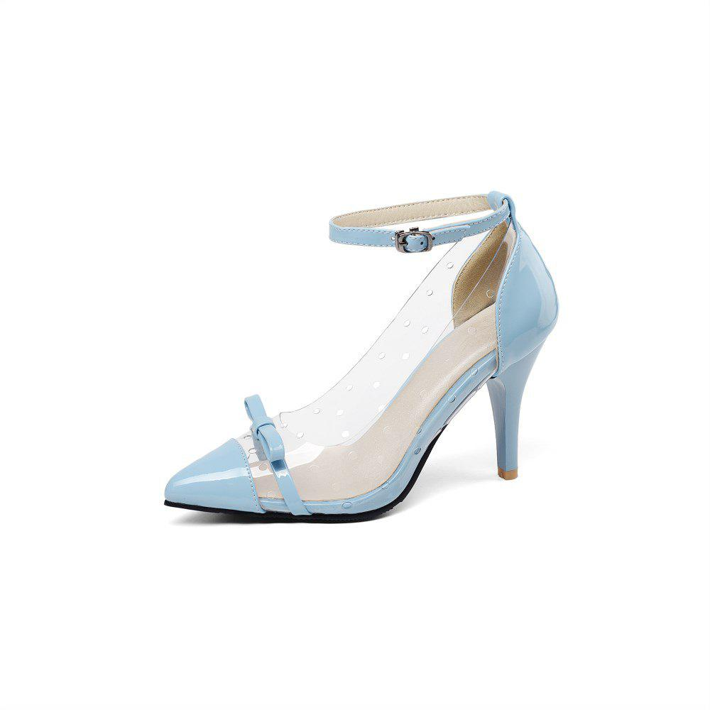Latest Spring Transparent Bow Stitching Stitching Stilettos for Women