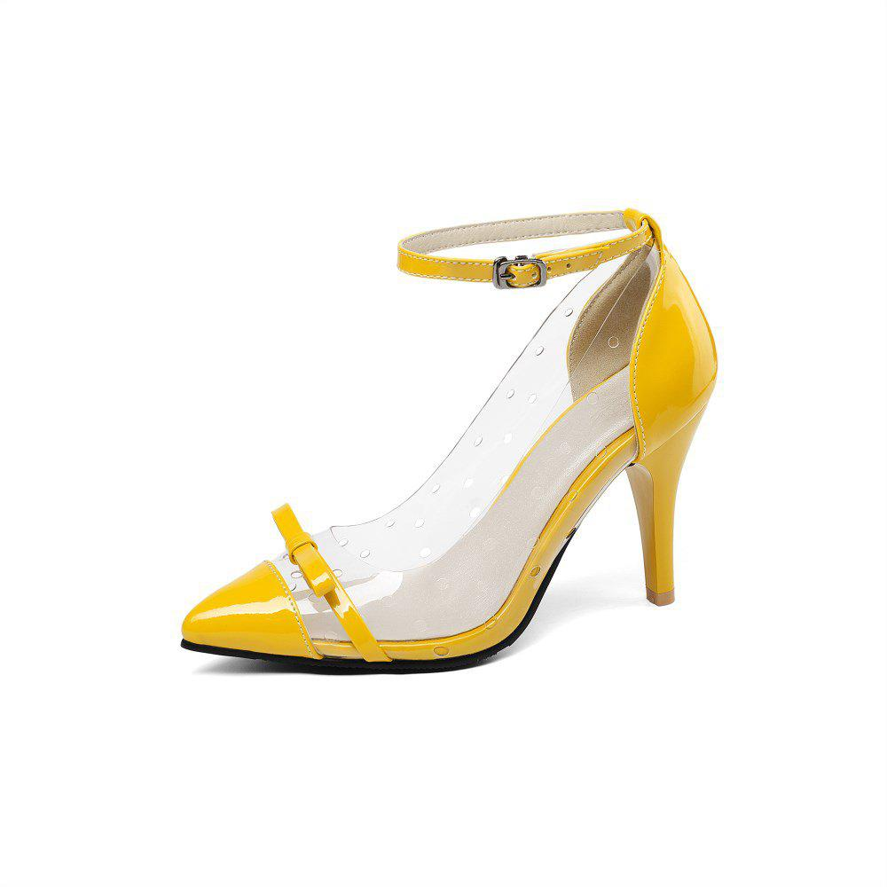 Trendy Spring Transparent Bow Stitching Stitching Stilettos for Women