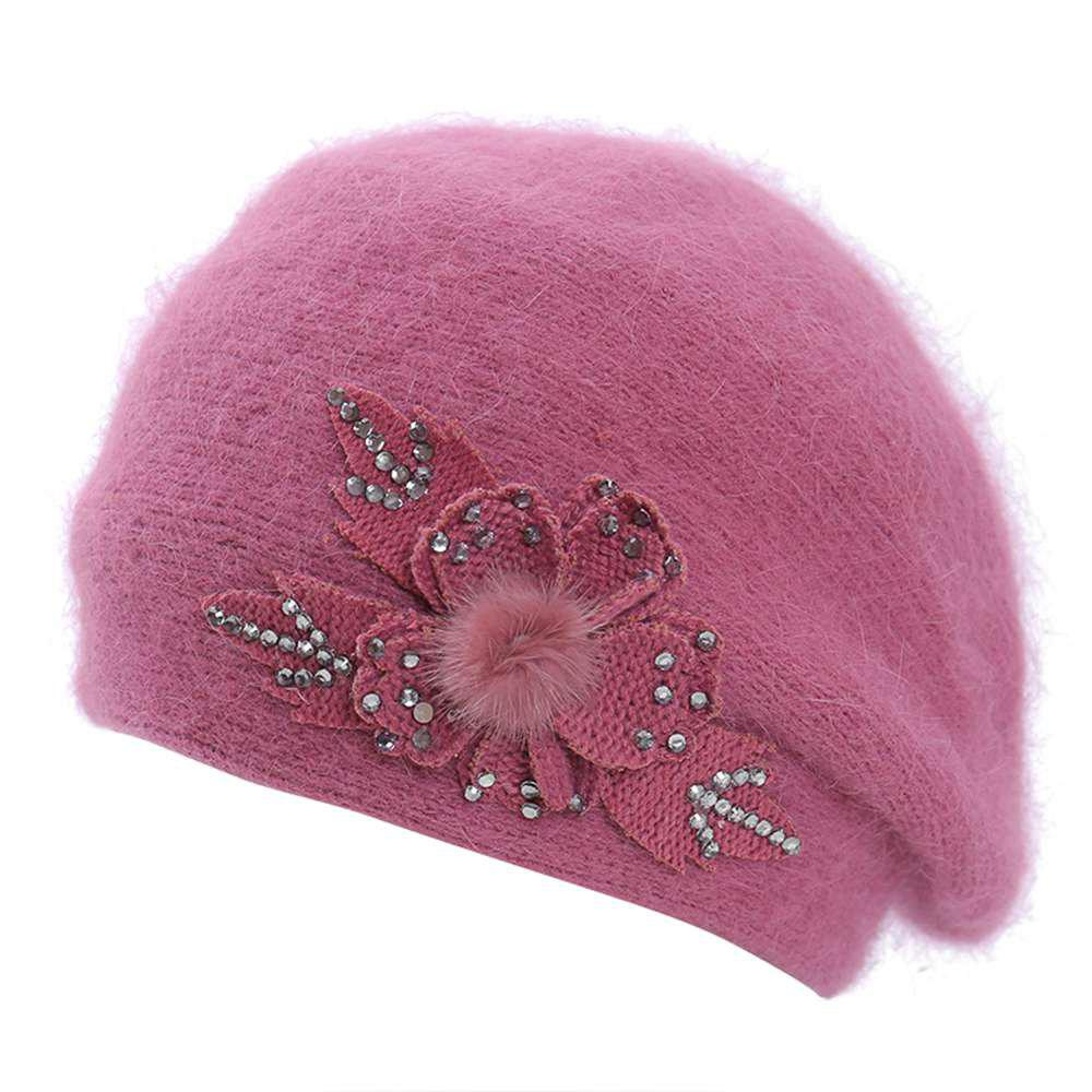 Outfits Ladies Warm Wool Wild Maple Leaf Hot Drilling Casual Fashion Beret