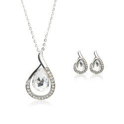 Chain Necklace Set for Women Jewelry Water Drop Pendant Necklace Stud Earrings -