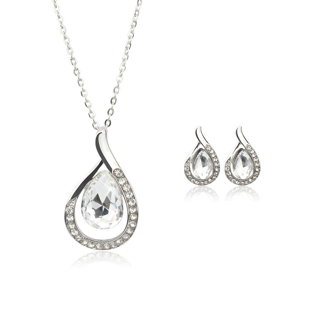 Shops Chain Necklace Set for Women Jewelry Water Drop Pendant Necklace Stud Earrings