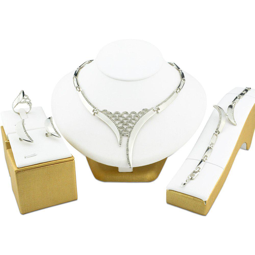 Online Silvery Color Jewelry Sets Dubai Wedding Beads Crystal Hollow Bridal Rhinestone