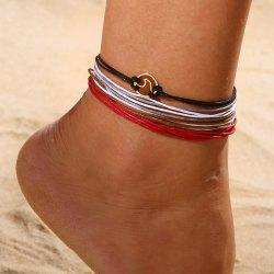 Multi-Color Harajuku Color Leather Rope Set of 4 Ocean Wave Foot Anklet -