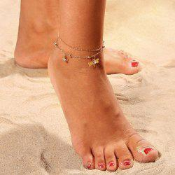 Bohemian Foot Ornament Double-Layer Anklet Diamond-Encrusted Anklelet -