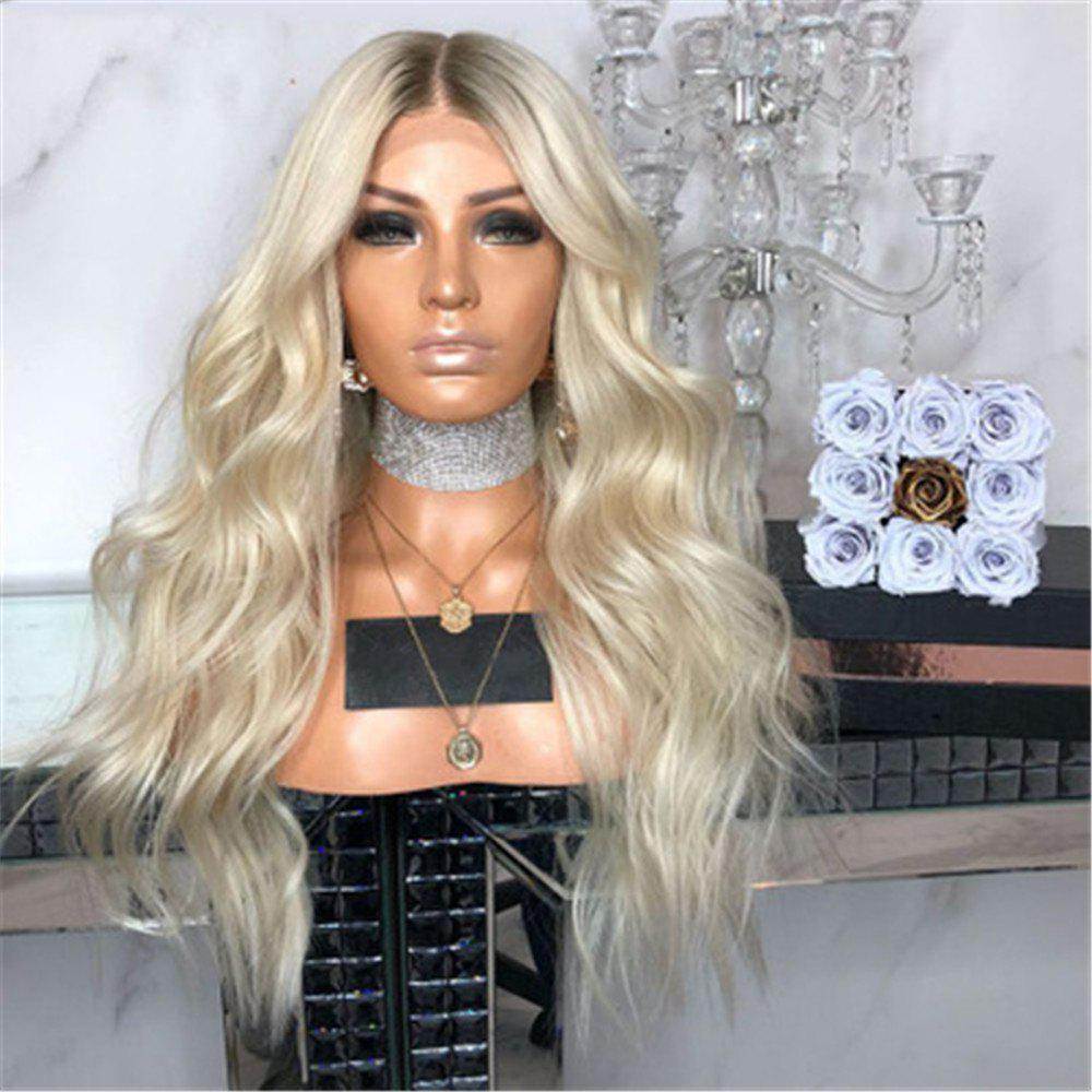 Trendy Brown Gold Gradient Long Straight Hair Micro-Volume Small Wave Headgear