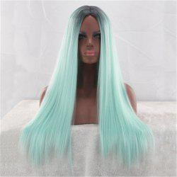 Mint Green Gradient Color in The Long Straight Hair Chemical Fiber Wig -