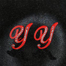 Red 26 English Letters with Diamond Alloy Earrings Temperament Simple Earrings -