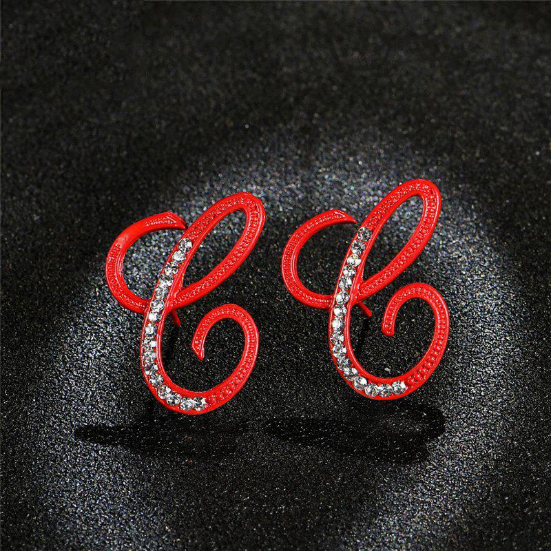 Discount Red 26 English Letters with Diamond Alloy Earrings Temperament Simple Earrings