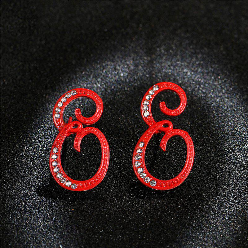 Cheap Red 26 English Letters with Diamond Alloy Earrings Temperament Simple Earrings