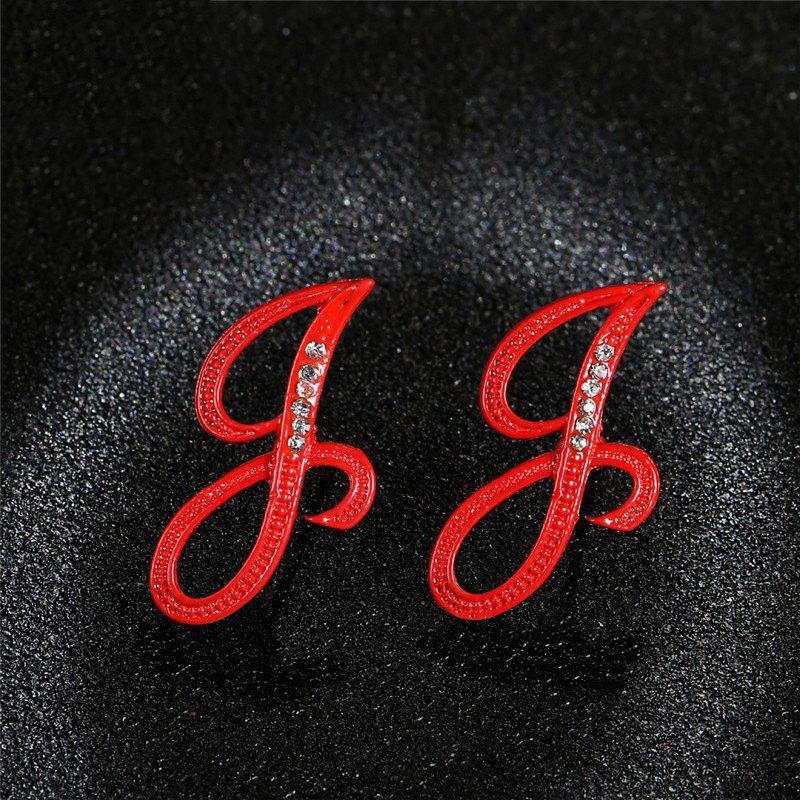 Shops Red 26 English Letters with Diamond Alloy Earrings Temperament Simple Earrings
