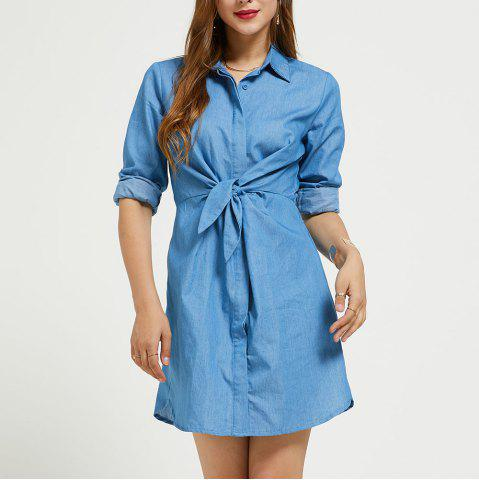 SBETRO Solid Shirt Dress Lapel Down Collar Long Sleeve Spring Summer