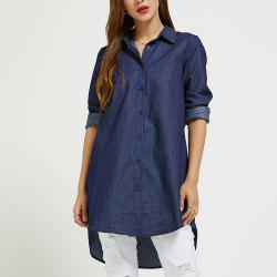 SBETRO Denim Colored Shirt with Single-breasted Button Long Sleeve Autumn Women -