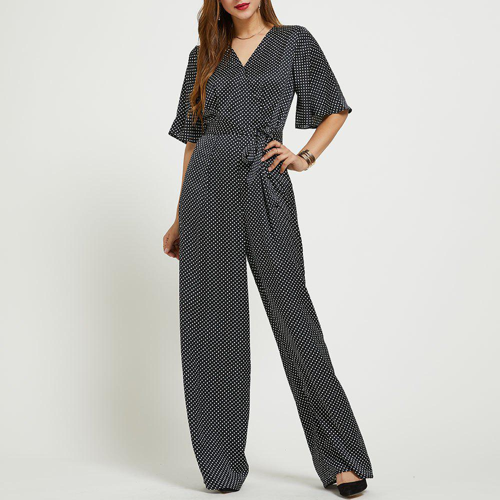 Fashion SBETRO Polka Dots Jumpsuit V Neck Flare Sleeve Officewear with Waist Tie