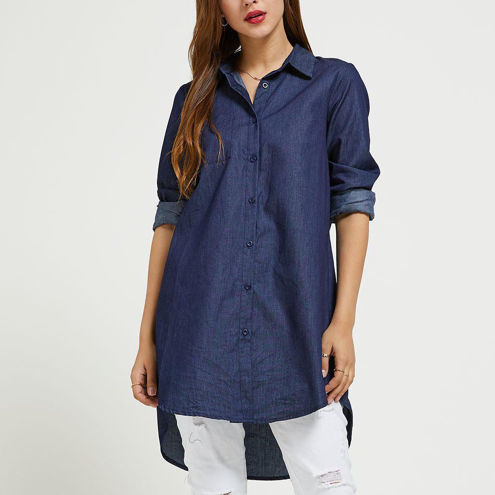 Hot SBETRO Denim Colored Shirt with Single-breasted Button Long Sleeve Autumn Women