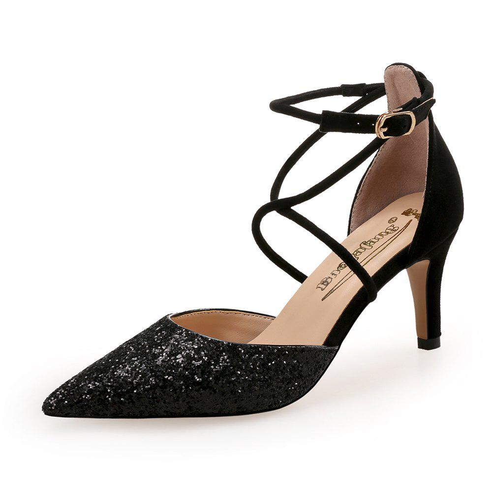 Cheap Pointed Cross Straps Sequin Cloth Shallow Mouth Hollow Banquet High Heels