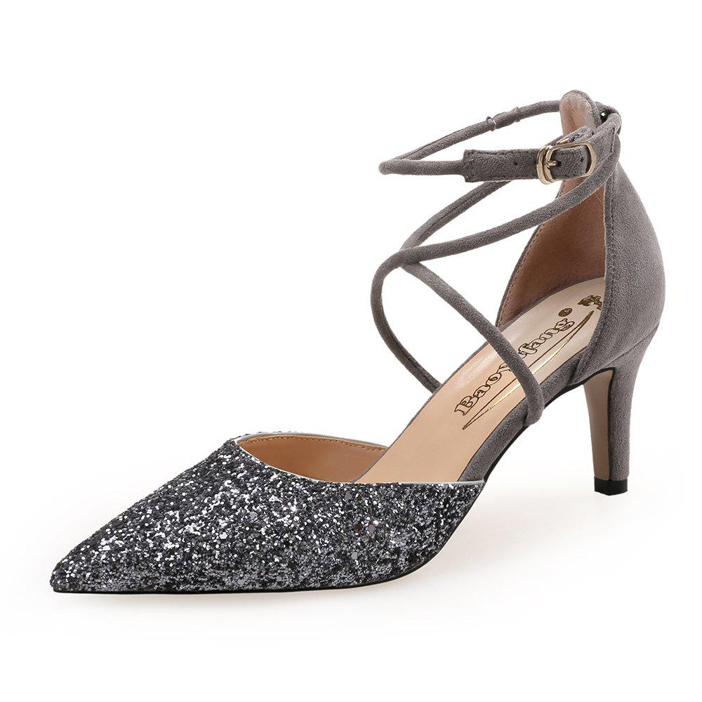 Best Pointed Cross Straps Sequin Cloth Shallow Mouth Hollow Banquet High Heels
