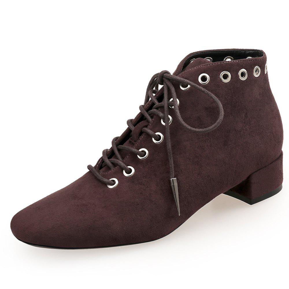 Discount Square Head Tie with Burgundy Thick Heel Shortbare Boots