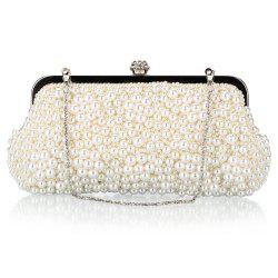 Fashion Pearl Bag Polyester Beads Hand Bag Worn Drill Dinner Packages -